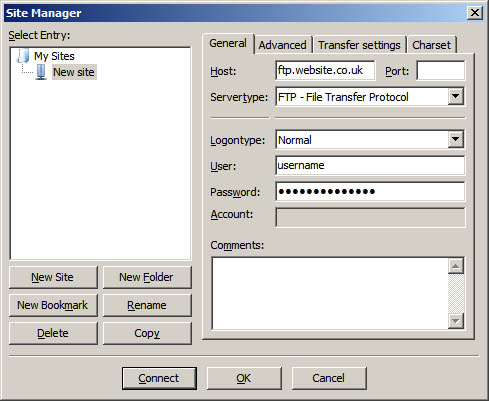 filezilla-site-manager-completed