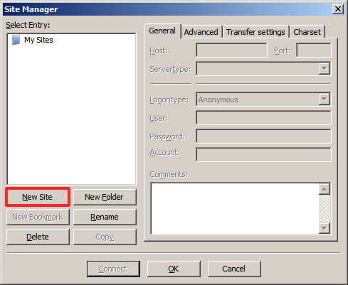 filezilla-site-manager-dialog