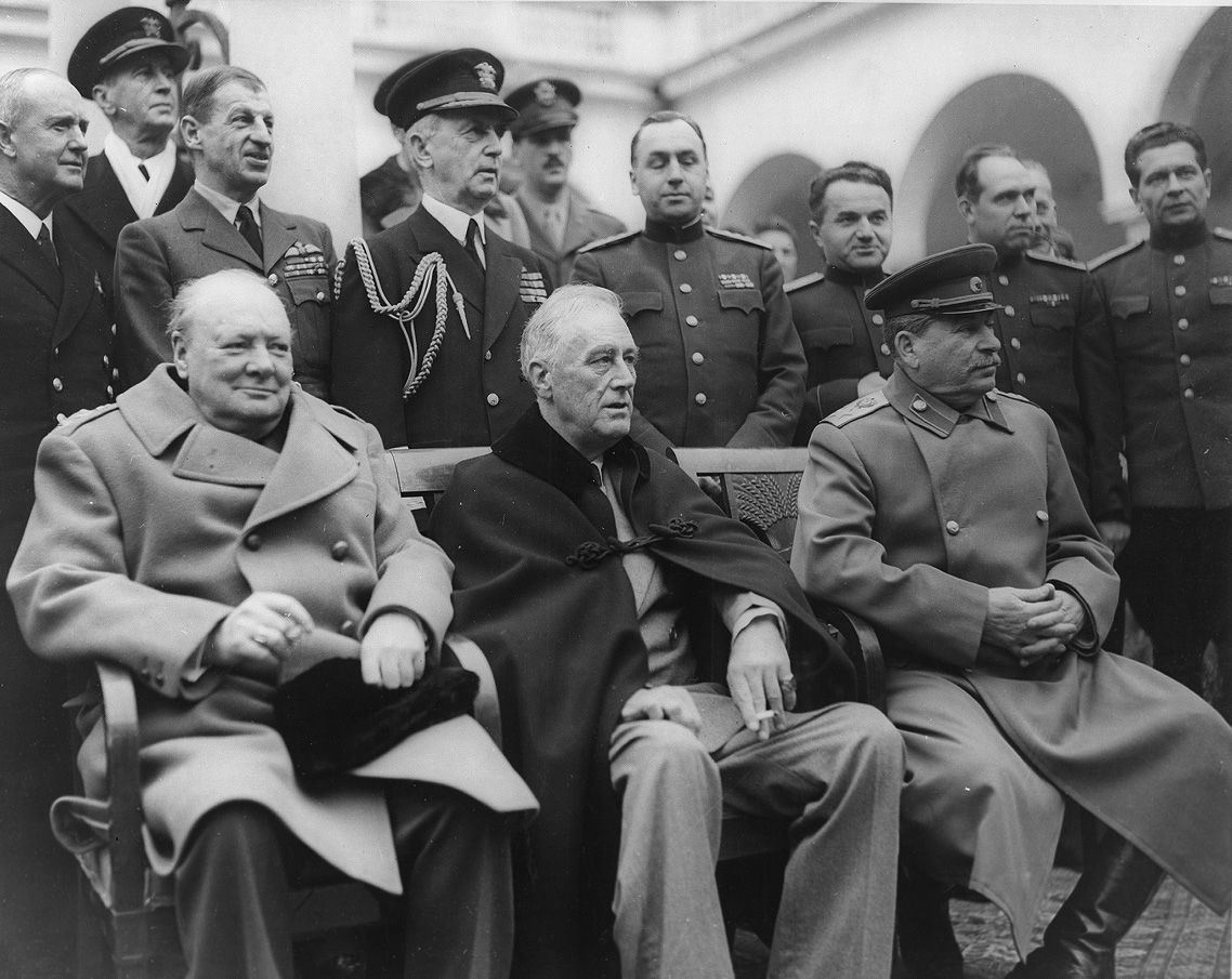 Winston Churchill, Franklin D. Roosevelt and Josef Stalin at Yalta conference 1945 By U. S. Signal Corps - Library of Congress , Franklin D. Roosevelt Library & Museum