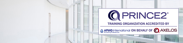 PRINCE2 accredited training organisation logo with office windows in the background